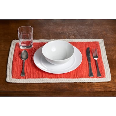 """LR Home Bordered Set of Four Place Mat - 1'1"""" x 1'7"""""""