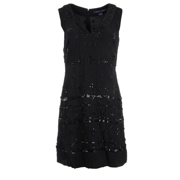 French Connection Womens Cocktail Dress Beaded Sleeveless