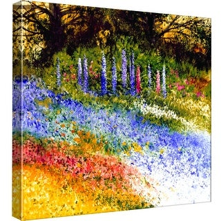 """PTM Images 9-97793  PTM Canvas Collection 12"""" x 12"""" - """"Hollyhocks"""" Giclee Rural Art Print on Canvas"""
