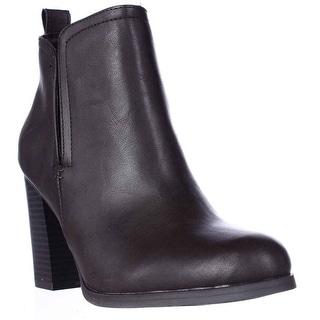 AR35 Seleste Block Heel Chelsea Booties, Chocolate