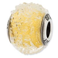 Italian Sterling Silver Reflections Light Yellow Textured Glass Bead