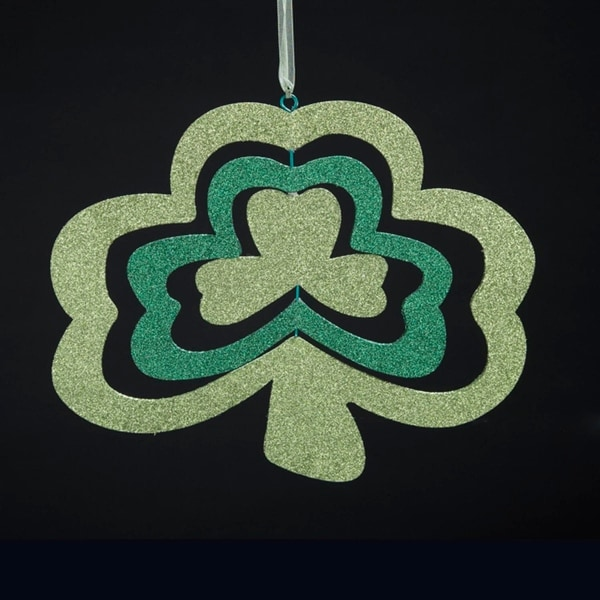 "9.75"" Luck of the Irish Green 3-Dimensional Glitter Shamrock Christmas Ornament"