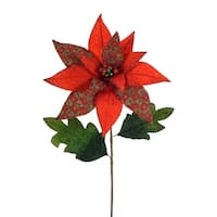 """Club Pack of 12 Red and Green Glitter Poinsettia Stem Christmas Picks 30"""""""
