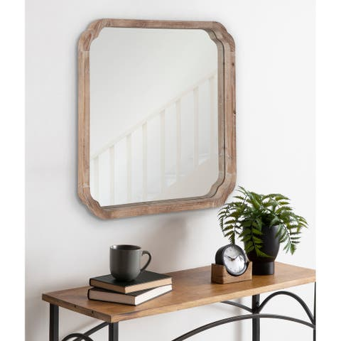 Kate and Laurel Marston Square Wood Wall Mirror - 24x24