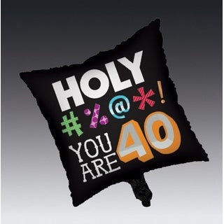 """Club Pack of 12 Holy Bleep Metallic Square """"40"""" Foil Party Balloons"""