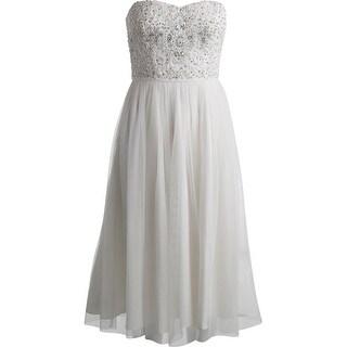 Aqua Womens Mesh Strapless Semi-Formal Dress