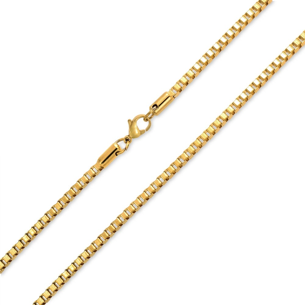 Shop Box Chain Link 3mm Thin Necklace Men Gold Plated Stainless Steel High Overstock 17987082