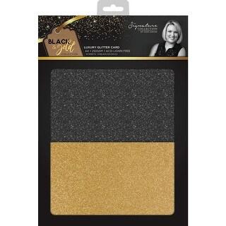Sara Davies Signature Luxury Cardstock A4 30/Pkg-Glitter, 15 Black, 15 Gold