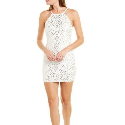 Jump Apparel Dress White Size Small S Junior Sheath Metallic Textured