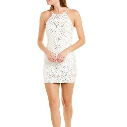 Jump Apparel Sheath dress White Size Large L Junior Foil Dot-Texture