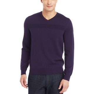 Kenneth Cole Reaction Textured V-Neck Sweater Large L Dark Grape Purple