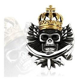 Stainless Steel Gold Plated Crowned Marduke Skull Pendant (32 mm Width)