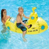 "57"" Inflatable Yellow Aqua Fun Submarine Rider Swimming Pool Kid's Float"