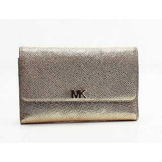 Michael Kors Gold Pebble Leather Multi-Function Clutch Wallet