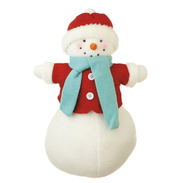 "17"" Red and White Lady Snowman Christmas Tabletop Decoration"