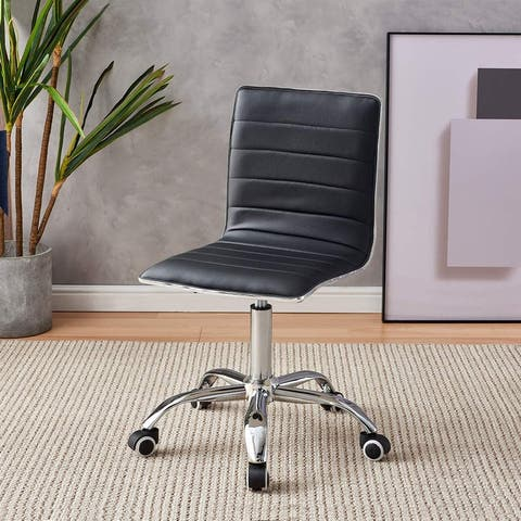 Adjustable Chair PU Leather Mid Back Rolling with Wheels Padded Task
