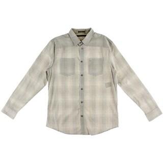 Sean John Mens Tailored Fit Plaid Button-Down Shirt