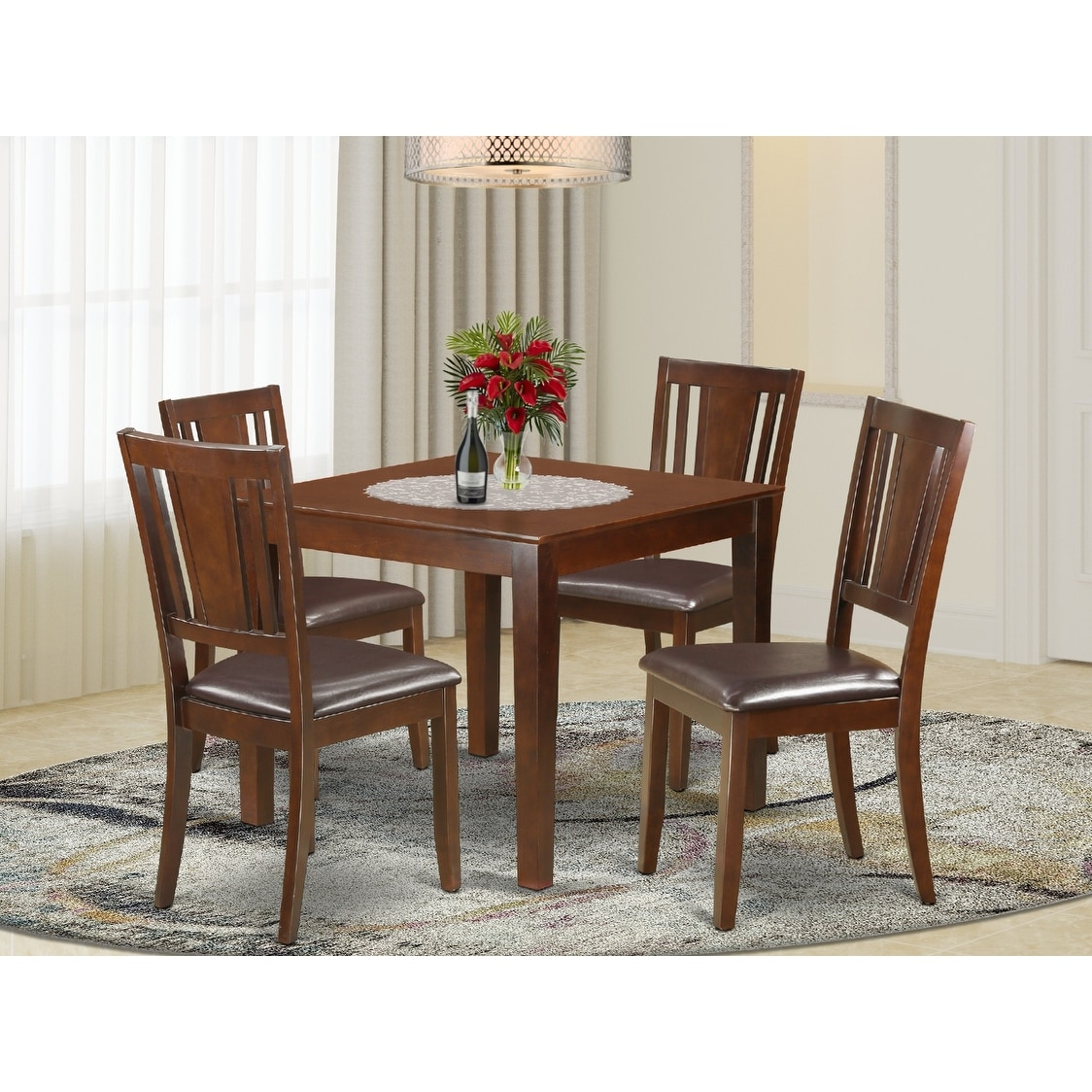 Oxford Mahogany Square 5 Piece Dinette Dining Set Overstock 14366596