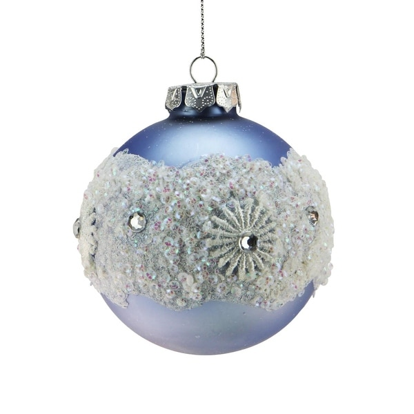 """Ice Palace Matte Silver with Glitter Drenched Snowflake Bottom Glass Christmas Ball Ornament 3"""" (75mm)"""