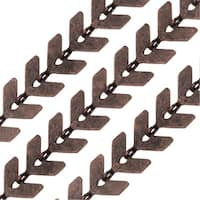 Antiqued Copper Plated Bulk Chain, Chevron Links 6.5mm, Sold By the Foot