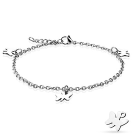 Dangling Butterfly Charm 316L Stainless Steel Chain Anklet/Bracelet (13.5 mm) - 9.25 in
