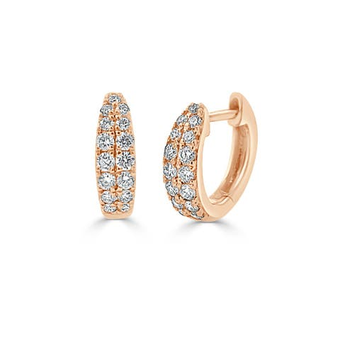 Diamond Double Row Huggie Earring 14k Rose Gold 3/8 ct by Joelle Collection