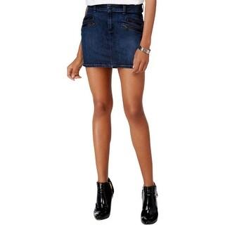 Guess Womens Mini Skirt Denim Double Zipper Pockets - 30
