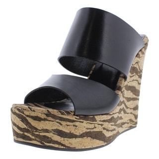 Studio Pollini Womens Wedge Sandals Leather Zebra Print