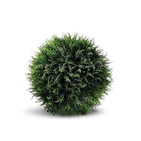 "Cedar Ball Artificial Faux Botanical - Green - 15""H"