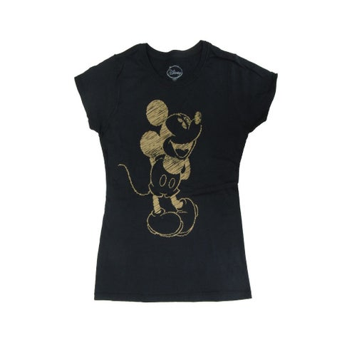 Disney Womens Black Mickey Mouse Graphic Print Short Sleeve T-Shirt - womens s