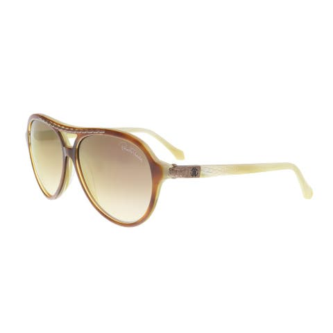 Roberto Cavalli RC9885 56G TORCULARIS Amber/Yellow Round Sunglasses - 60-13-140