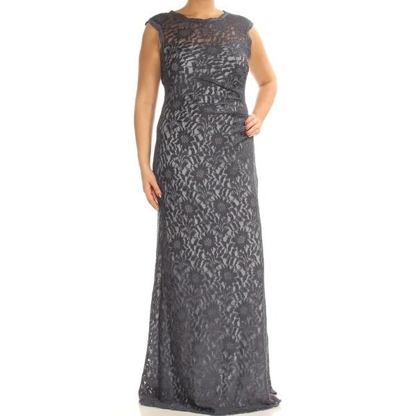 Shop Womens Navy Floral Cap Sleeve Full Length Formal Dress Size 12