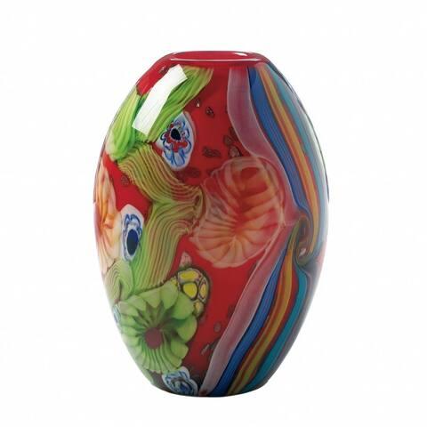 New Arriving Red Floral Flow Glass Vase
