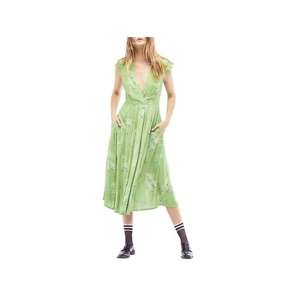 Free People Womens Party Dress Midi Faux Wrap