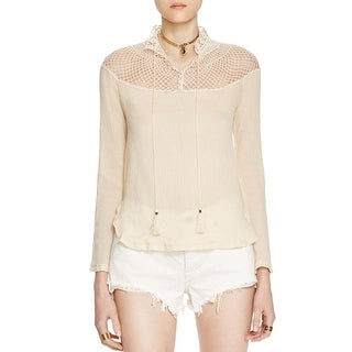 Free People Womens On The Island Peasant Top Embroidered Bell Sleeves