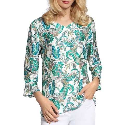 Basler Womens Blouse - Green/White