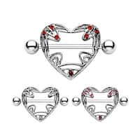 "Surgical Steel Nipple Ring Heart Shield with Gem - 14GA 3/4"" Long (Sold Individually)"