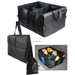 JAVOedge Black Collapsible Trunk Collapable Storage Container for Truck, Car with Carry Handle with Pockets + Bonus Tote