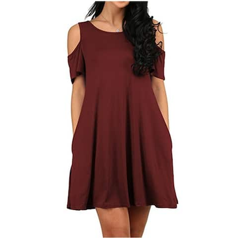 Women's Cold Shoulder Tunic Top Pockets Swing Dress