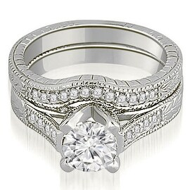 1.00 cttw. 14K White Gold Antique Cathedral Round Cut Diamond Engagement Set