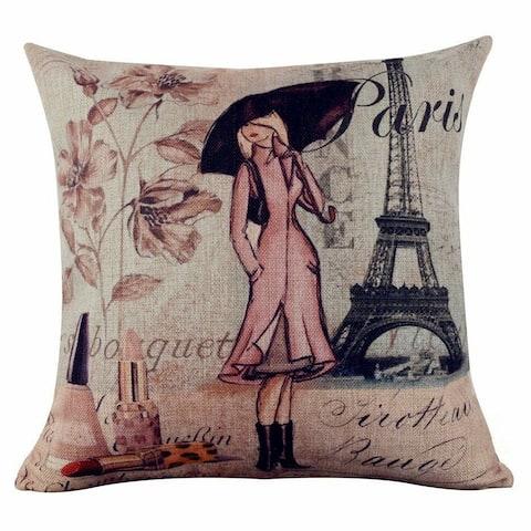 Vintage Home Decor Cotton Linen Pillow Case #97 Paris Lady