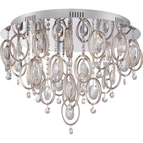 Platinum PCEL1623 Ella 18 Light Flush Mount Ceiling Fixture - Silver