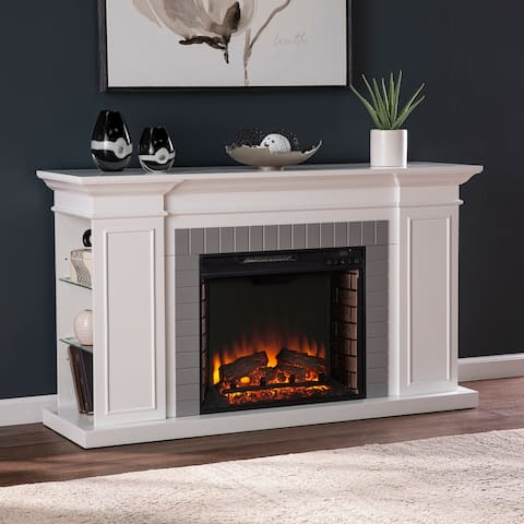 SEI Furniture Repetto Transitional White Curio Shelves Wood Electric Fireplace