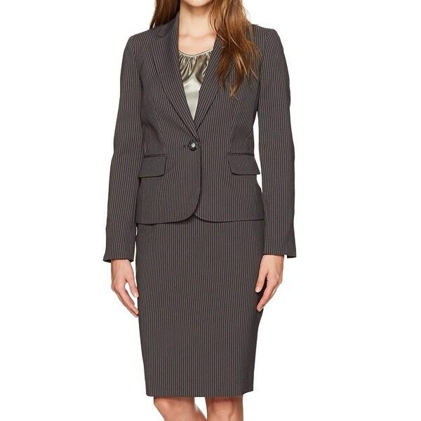 8c1c2bf35b1b9 Shop Le Suit Black Womens Size 4 Pinstriped One Button Skirt Suit ...