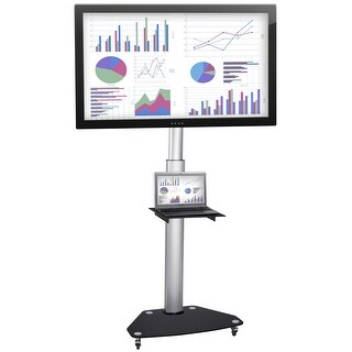 Mount-It! Mobile TV Cart, Height Adjustable Rolling Flatscreen Stand with Component Shelf and Rolling Casters