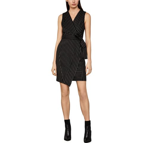 BCBG Max Azria Women's Asymmetric Striped Sleeveless Faux Wrap Mini Dress - Black Combo