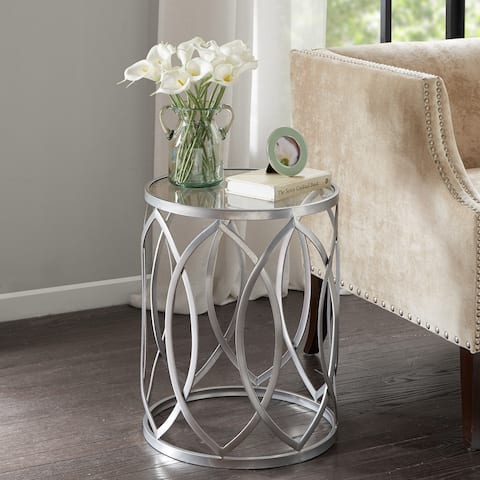 Madison Park Coen Metal Eyelet Accent Drum Table