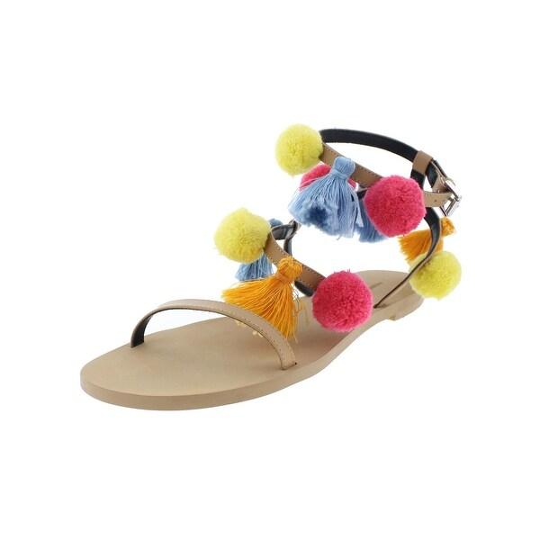 Rebecca Minkoff Womens Esme Flat Sandals Open Toe Pom Pom