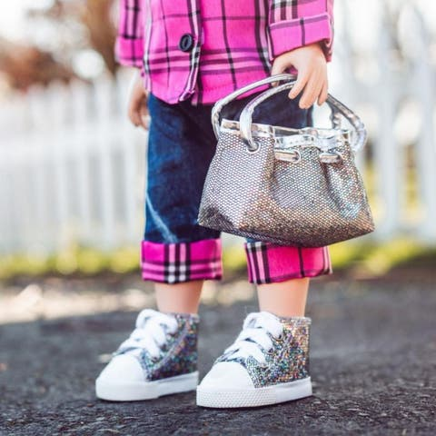 Silver Glitter Designer Shoulder Handbag Purse And Sneaker Shoes, Sized to Fit 18 Inch American Girl Doll Clothes & Accessories