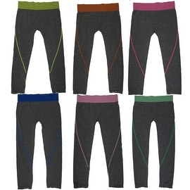 Women's 6 Pack Seamless Heather Base Contrast Color Band Athletic Sports Capris Leggings